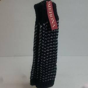 NWT Merona Fingerless Gloves Black and Silver